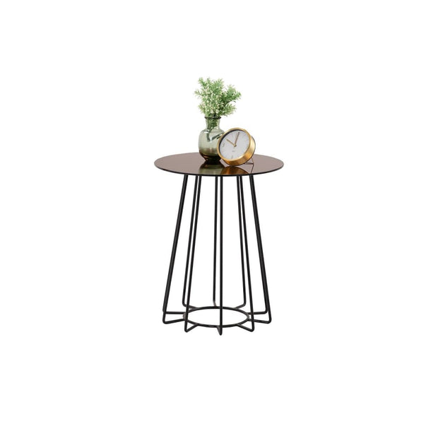Cyrus Coffee Lamp Table in Mirror Glass Top - Arena Living
