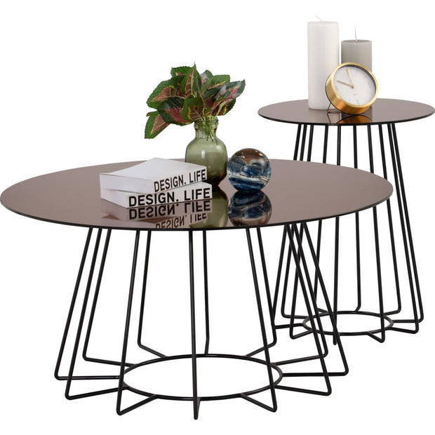 Cyrus Coffee Table in Mirror Glass Top - Arena Living