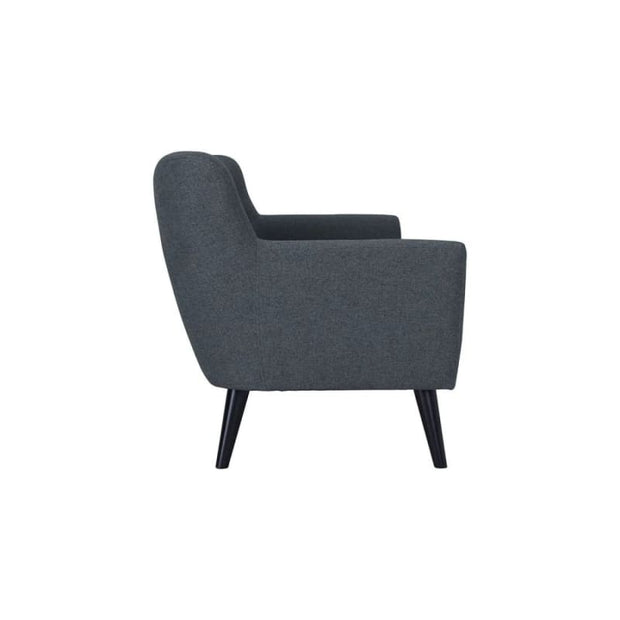 Eclipse 3 Seater Sofa with Black Colour Leg Battleship Grey