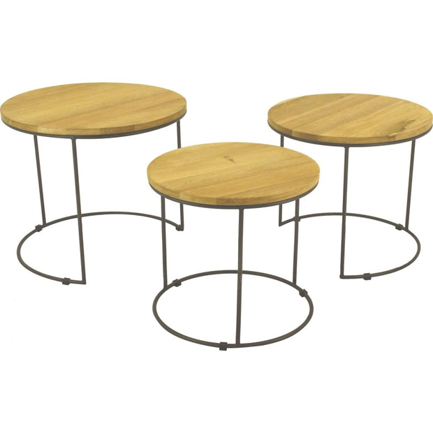 Eligio Nest of 3 Round Coffee Table Set in Oak Veneer Top