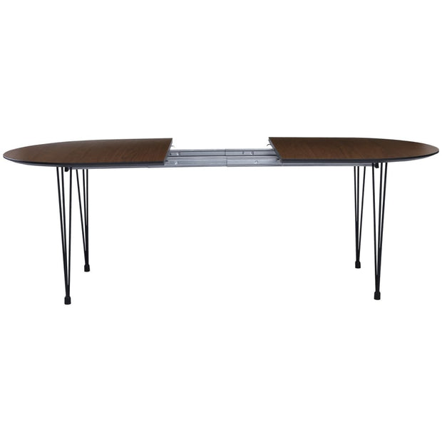 This is a product image of Extendable Omeo 6-8 Seat Dining Table in Walnut Veneer Top. It can be used as an.
