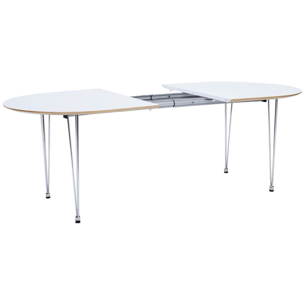 This is a product image of Extendable Omeo 6-8 Seat Dining Table in White Lacquered Top. It can be used as an.