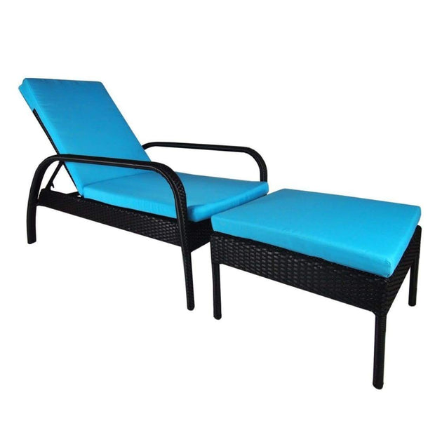 This is a product image of Ferraria Sunbed Blue Cushion. It can be used as an Outdoor Furniture.
