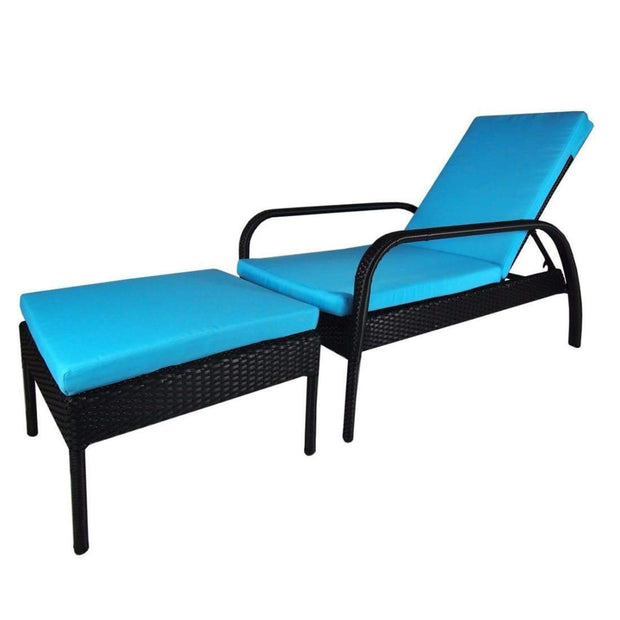 This is a product image of Ferraria Sunbed Blue Cushion + Coffee Table. It can be used as an Outdoor Furniture.