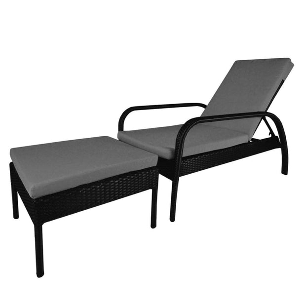 This is a product image of Ferraria Sunbed Grey Cushion + Coffee Table. It can be used as an Outdoor Furniture.