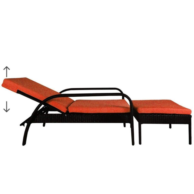 This is a product image of Ferraria Sunbed Orange Cushion + Coffee Table. It can be used as an Outdoor Furniture.