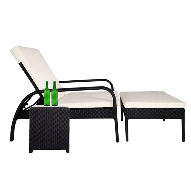 This is a product image of Ferraria Sunbed White Cushion + Coffee Table. It can be used as an Outdoor Furniture.