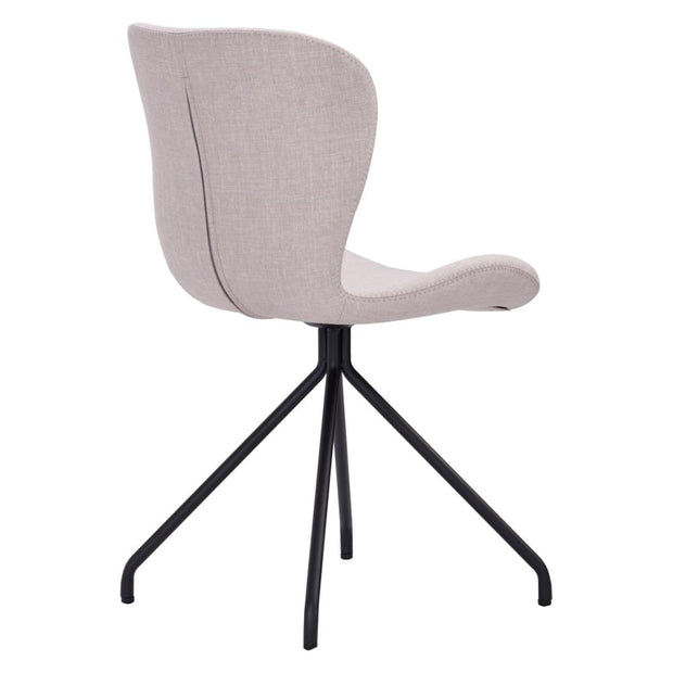 This is a product image of Gryta Dining Chair in Sand Colour Cambric Fabric Set of 2. It can be used as an.