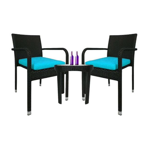 This is a product image of Jardin 2 chair Patio Set Blue Cushion. It can be used as an Outdoor Furniture.