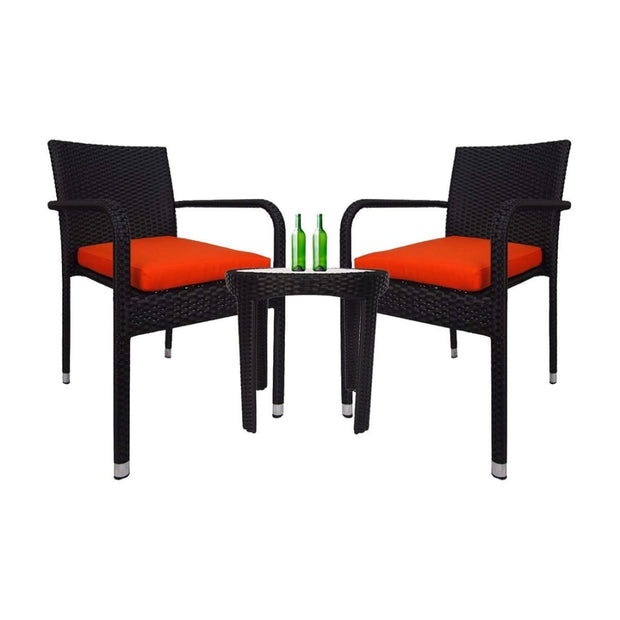 This is a product image of Jardin 2 chair Patio Set Orange Cushion. It can be used as an Outdoor Furniture.