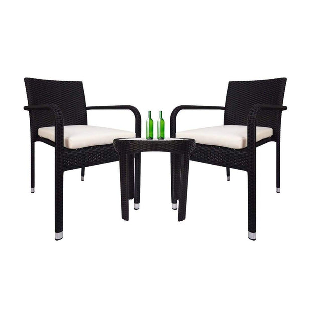 This is a product image of Jardin 2 chair Patio Set White Cushion. It can be used as an Outdoor Furniture.