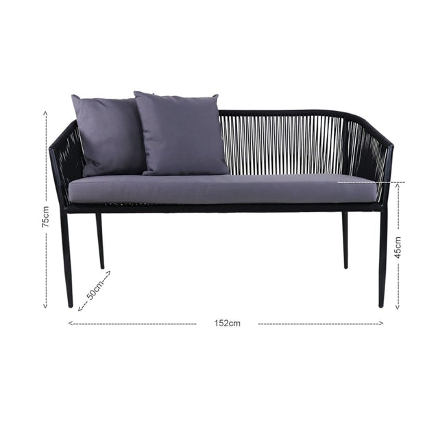 This is a product image of Kyoto Loveseat Grey Cushions + Coffee Table. It can be used as an Outdoor Furniture.