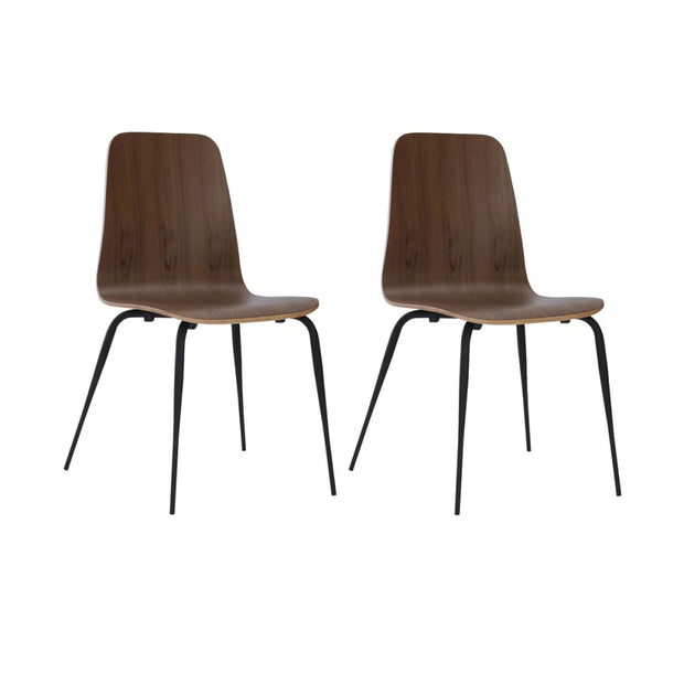 This is a product image of Meiko Dining Chair Walnut Veneer Set of 2. It can be used as an.