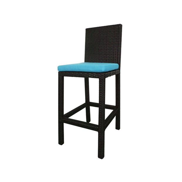 This is a product image of Midas 2 Chair Bar Set Blue Cushion. It can be used as an Outdoor Furniture.