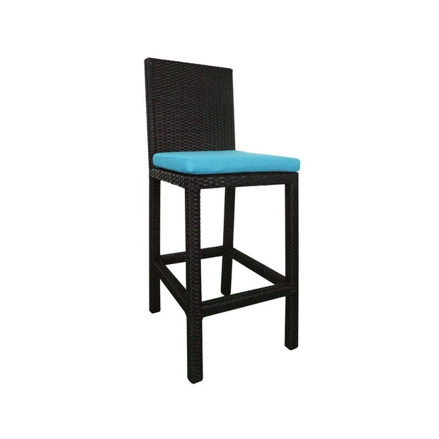 This is a product image of Midas 4 Chair Bar Set Blue Cushion. It can be used as an Outdoor Furniture.