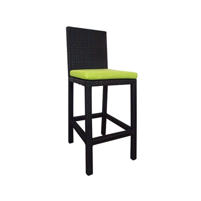 This is a product image of Midas Bar Chair Green Cushion. It can be used as an Outdoor Furniture.