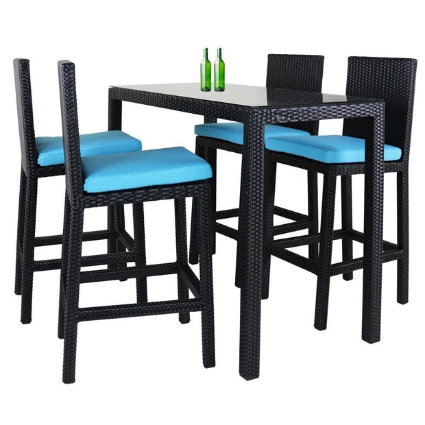 This is a product image of Midas Long 4 Chair Bar Set Blue Cushions. It can be used as an Outdoor Furniture.