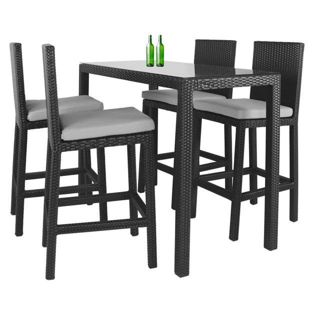 This is a product image of Midas Long 4 Chair Bar Set Grey Cushions. It can be used as an Outdoor Furniture.