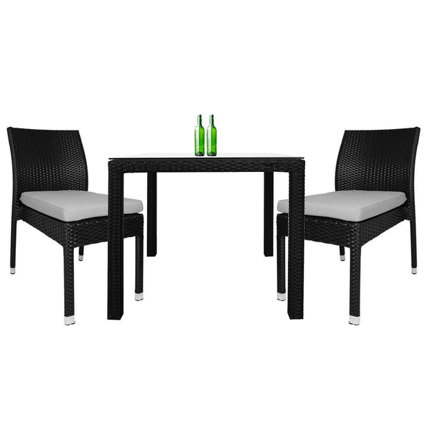 This is a product image of Monde 2 Chair Dining Set White Cushion. It can be used as an Outdoor Furniture.