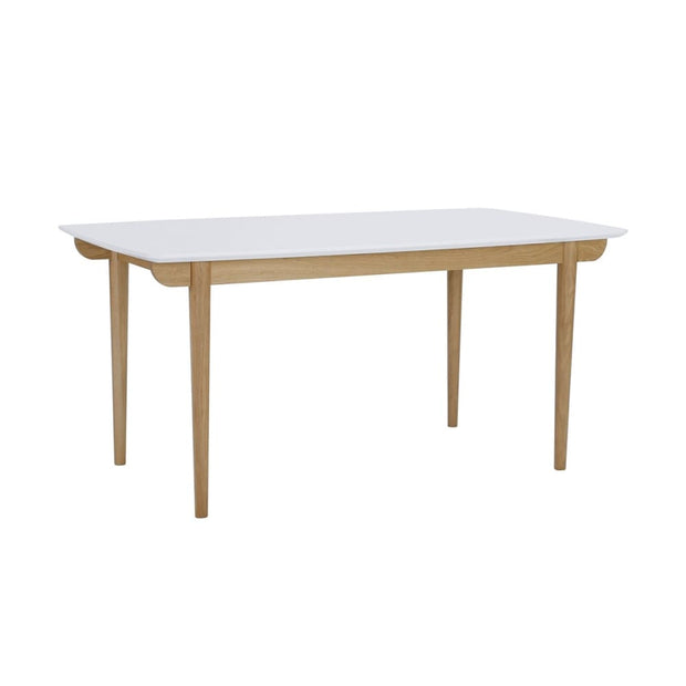 This is a product image of Nakula 4-6 Seat Dining Table in White Lacquered Top. It can be used as an.
