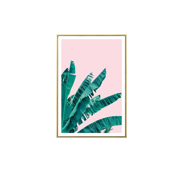 Nordic Banana Leaves Wall Art Print with Frame