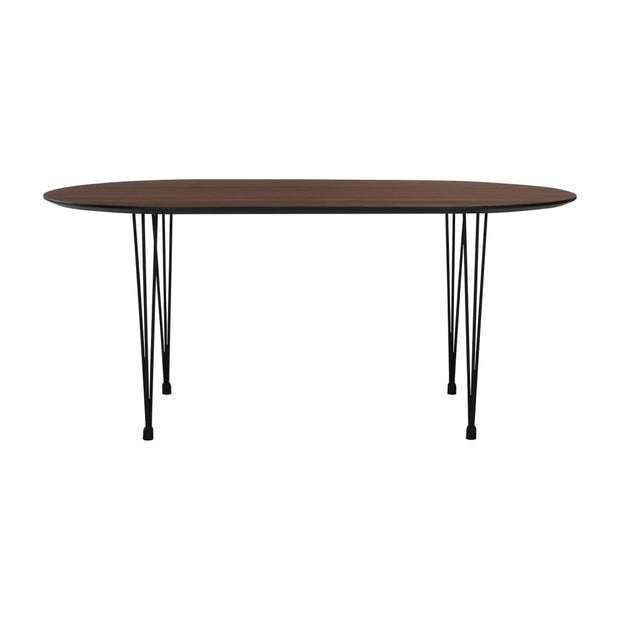 This is a product image of Omeo 4-6 Seat Dining Table in Walnut Veneer Top. It can be used as an.
