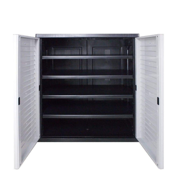 This is a product image of Optimus Low Cabinet Grey - Assembly Included. It can be used as an Storage Cabinet.