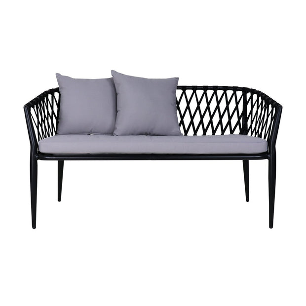 This is a product image of Orgo Sofa Loveseat Grey Cushions + Coffee Table. It can be used as an Outdoor Furniture.