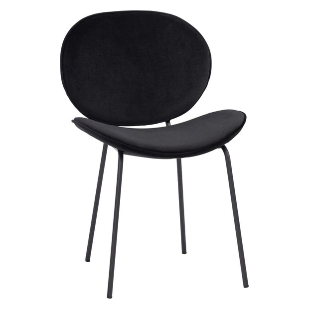 This is a product image of Ormer Dining Chair Black Colour in Veloutine Fabric Set of 2. It can be used as an.