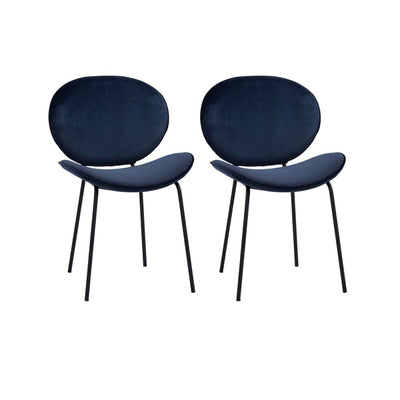 Ormer Dining Chair Navy Colour in Veloutine Fabric Set of 2
