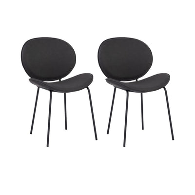 Ormer Dining Chair Titanium Colour PU Leather Set of 2