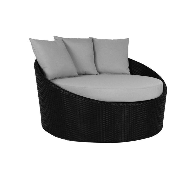 This is a product image of Round Sofa with Coffee Table Grey Cushion. It can be used as an Outdoor Furniture.