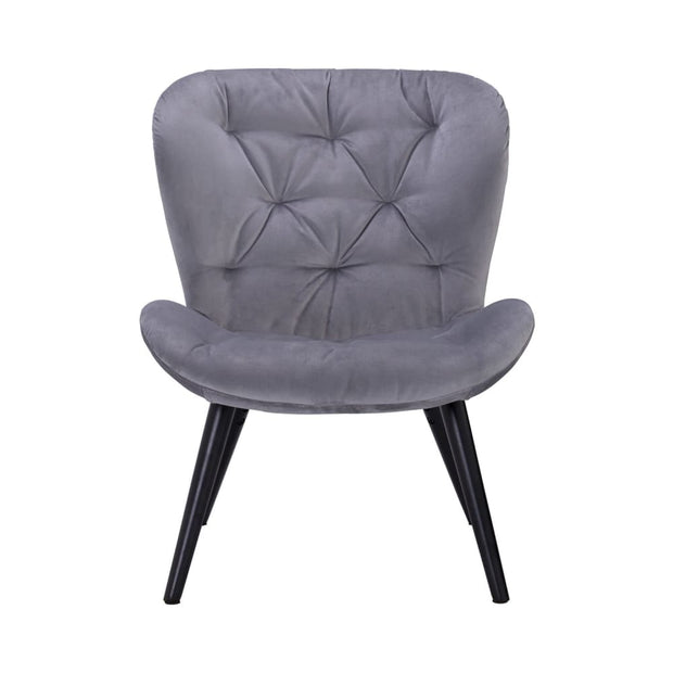 Salomi Lounge Chair Ash Grey Colour Veloutine Fabric - Arena Living