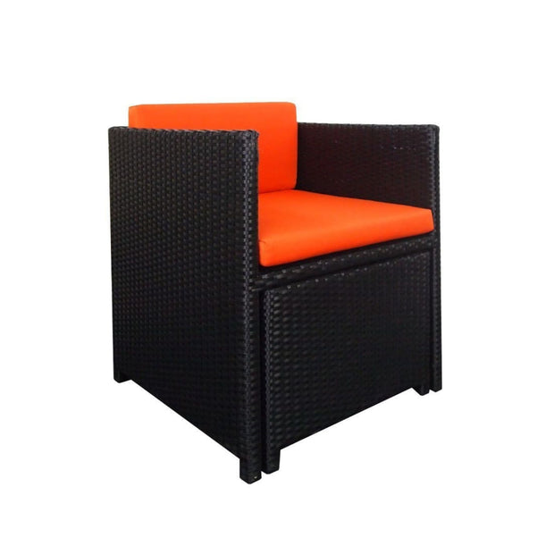 This is a product image of Splendor 1 Seater Armchair + 1 Ottoman Orange Cushion. It can be used as an Outdoor Furniture.