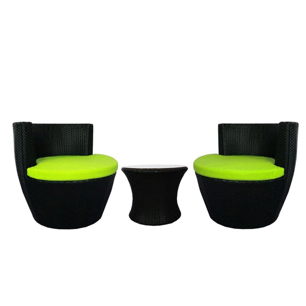 This is a product image of Stackable Patio Set Green Cushions. It can be used as an Outdoor Furniture.