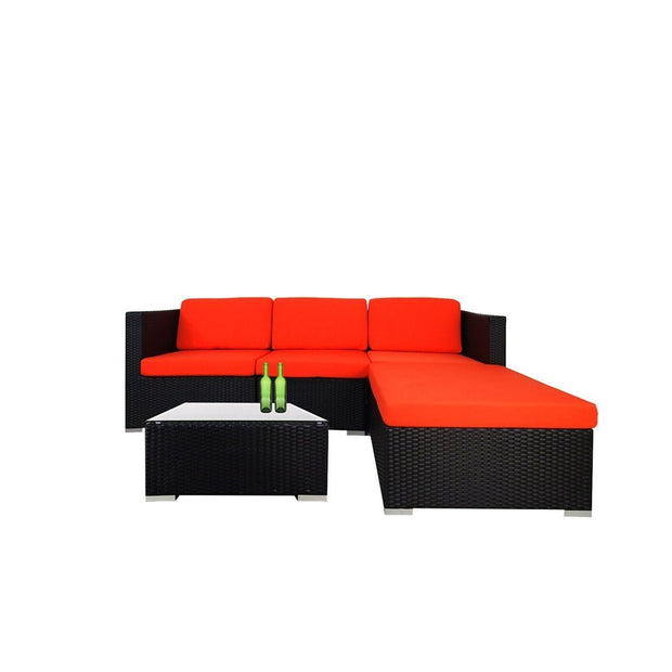 This is a product image of Summer Modular Sofa Set I Orange Cushions. It can be used as an Outdoor Furniture.