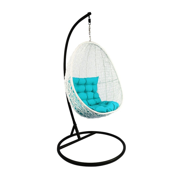This is a product image of White Cocoon Swing Chair Blue Cushion. It can be used as an Outdoor Furniture.