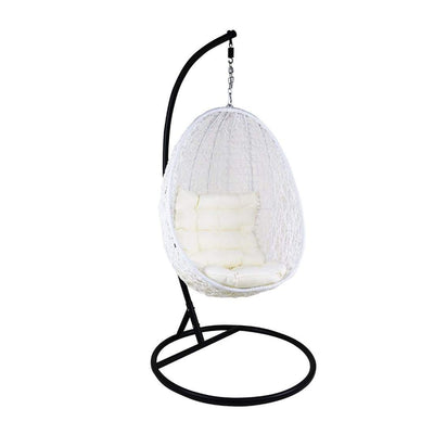 This is a product image of White Cocoon Swing Chair White Cushion. It can be used as an Outdoor Furniture.