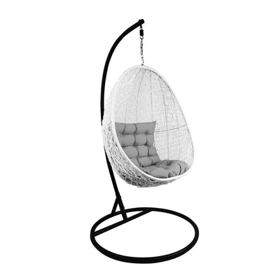 This is a product image of White Cocoon Swing Chair Grey Cushion. It can be used as an Outdoor Furniture.