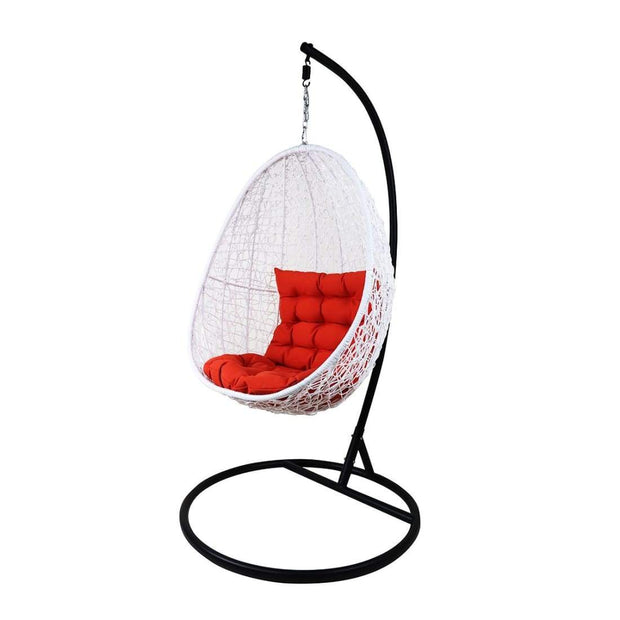 This is a product image of White Cocoon Swing Chair Orange Cushion. It can be used as an Outdoor Furniture.