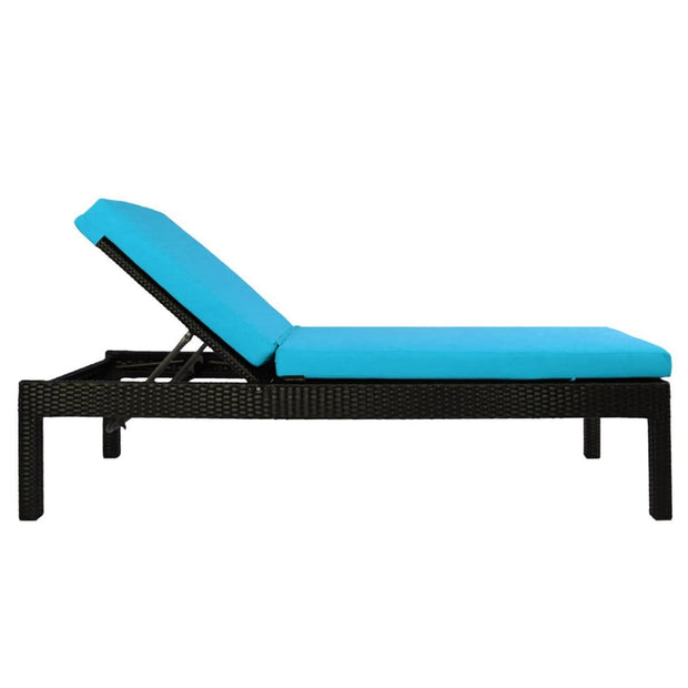 This is a product image of Wikiki Sunbed Blue Cushion + Coffee Table. It can be used as an Outdoor Furniture.