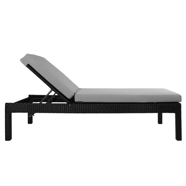 This is a product image of Wikiki Sunbed Grey Cushion + Coffee Table. It can be used as an Outdoor Furniture.