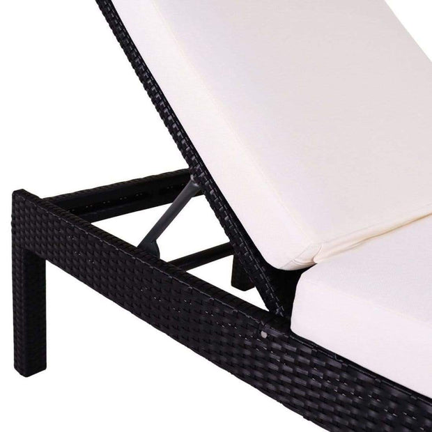 This is a product image of Wikiki Sunbed White Cushion + Coffee Table. It can be used as an Outdoor Furniture.