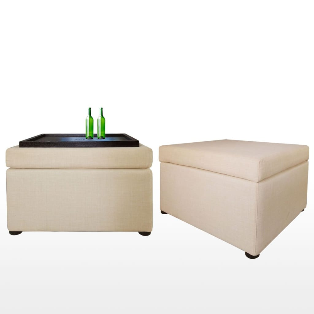 Ottoman Storage Coffee Table Beige (OPEN BOX)