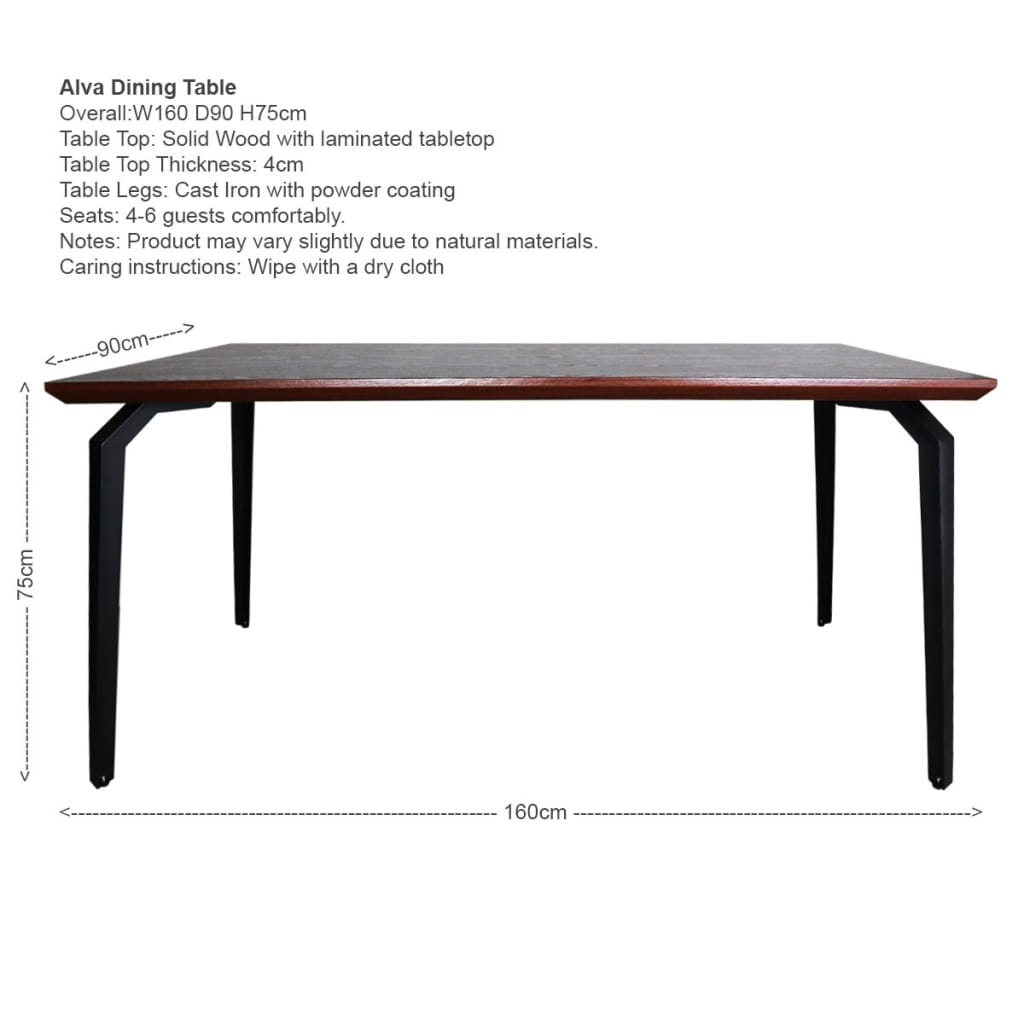Alva Dining Table+4 Colette Chairs (OPEN BOX)