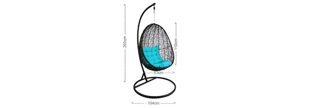 Black Cocoon Swing Chair Blue Cushion