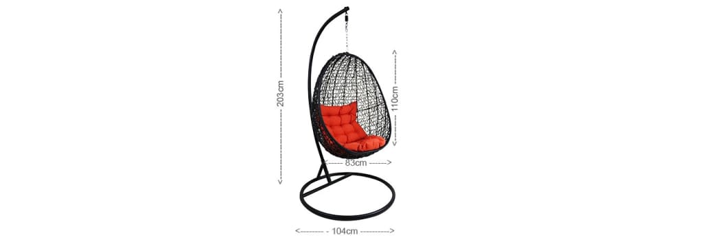 Black Cocoon Swing Chair Orange Cushion