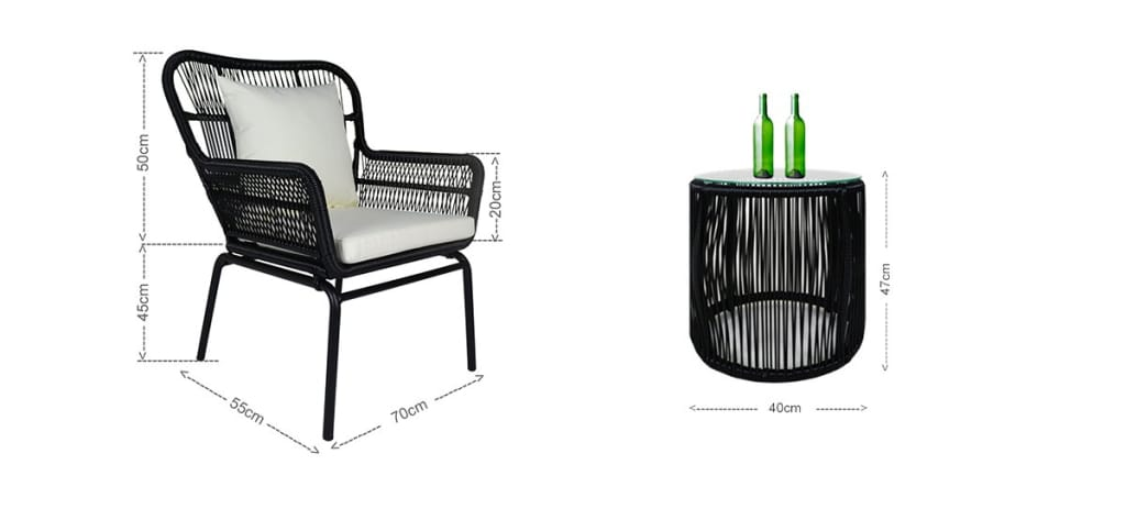 Outdoor armchair and coffee table
