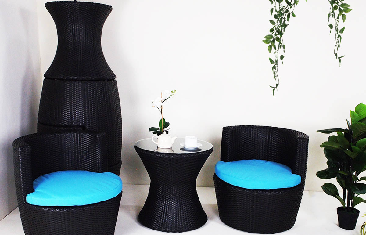 outdoor stackable vase armchair set with table