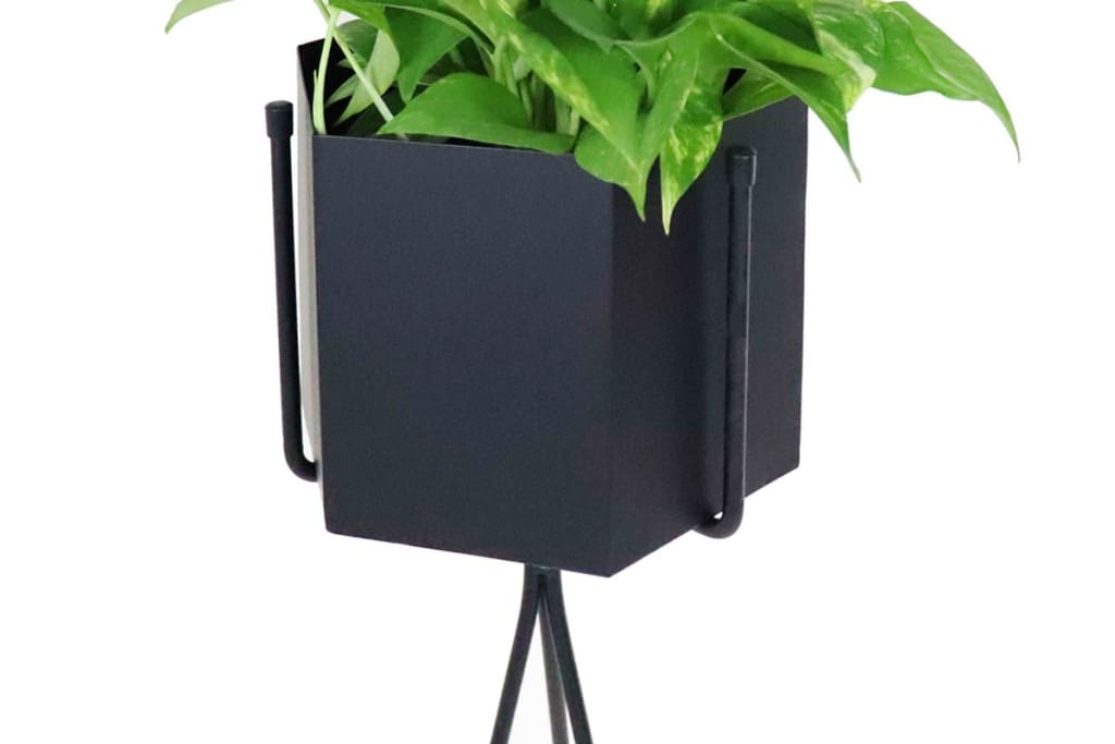 Radiant Black Free Standing Planter